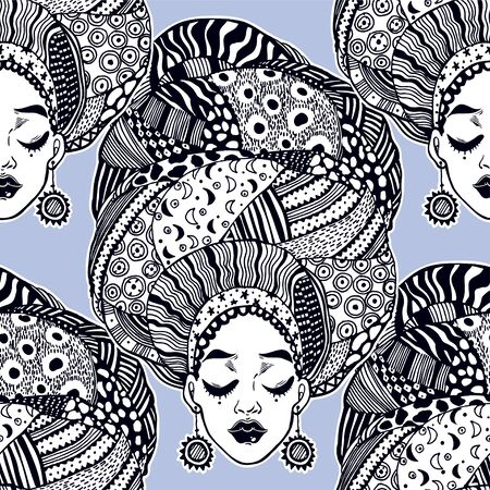 Seamless pattern with ethnic woman in traditional geometric turban, head wrap. Urban fashion diversity background. Young beautiful girl in traditional tribal attire. Tile, wallpaper.