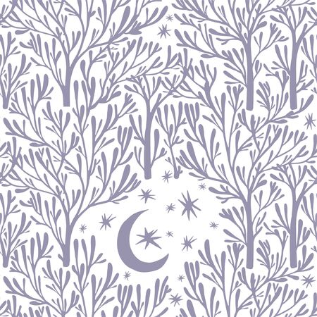 Nature seamless pattern background with forest trees, stars, moon. Hand-drawn, ethnic, floral, retro, doodle, vector tribal design element. Hand drawn woods naive night sky. Çizim