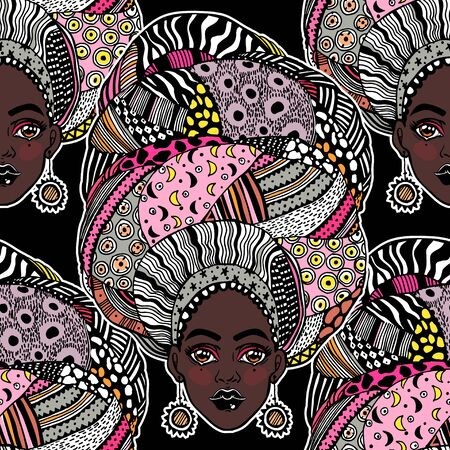 Seamless pattern with African woman in traditional geometric turban, head wrap. Urban fashion diversity background. Young beautiful girl in traditional ethnic attire. Tile, wallpaper. Çizim