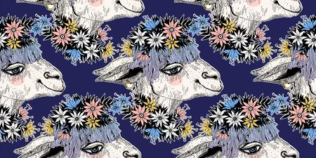 Hand drawn cute lama alpaca wearing wreath of field flowers seamless pattern. Colorful sketch of a tropical animal backdrop. Vector isolated background. Stok Fotoğraf
