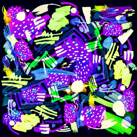 Modern multicolor futuristic pop art pattern made by markers. Bright color abstract painting in primitive style texture. Trendy motion background. Retro artwork for creative graphic design. Stok Fotoğraf