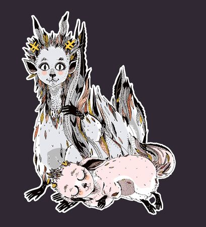 Adorable cute forest fox spirit - wild monster Kitsune with many tails.