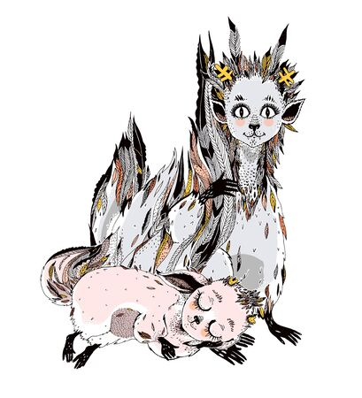 Adorable cute forest fox spirits family, wild Kitsune with many tails. Young fairy magic creature . Alchemy, tattoo art, t-shirt design, kawaii. Isolated illustration vector format. Pagan animals.
