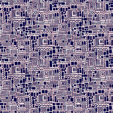 Seamless doodle geometric brick and line pattern.