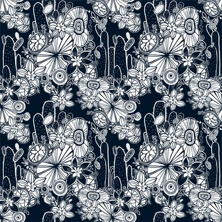 Nature seamless pattern background with flowers, succulents and cactus.