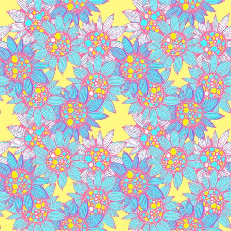 Nature seamless pattern background fantasy Sunflower plant.
