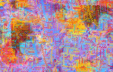 Modern multicolor spotted pop art digital composition with lines, dots and arrows.