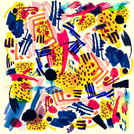 Modern multicolor futuristic pop art pattern made by markers.