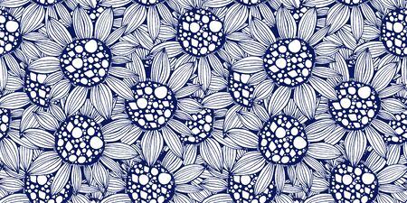 Nature seamless pattern background fantasy Sunflower plant.