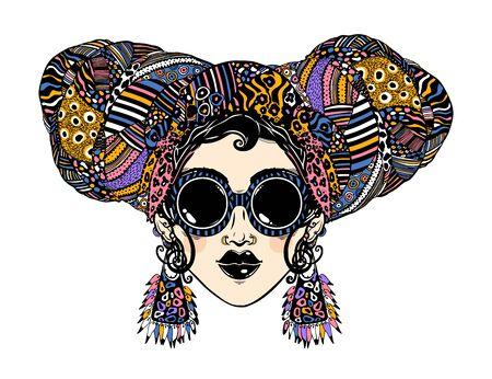 Young urban fashionable beautiful woman in cool ethnic style with elegant geometric glasses, earrings and head wrap. Vektoros illusztráció