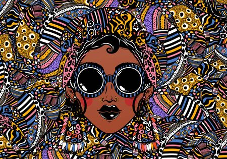 Young glamorous beautiful African woman in cool ethnic urban style with ethnic elegant geometric glasses, earrings on a rythmic background. Vector art isolated. Happy summer backdrop, fashion.