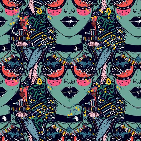 Seamless pattern of psychedelic woman in striped decor, crazy style with modern geometric glasses, vibrant and trippy. 일러스트