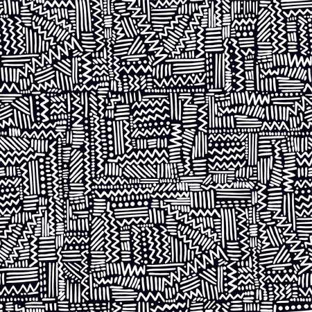 Seamless geometric vector pattern in rythmic ethnic Memphis style, linear background.