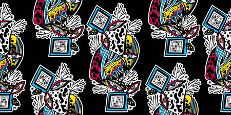 Modern doodle psychedelic fashion eyes seamless pattern in hippie or Memphis style