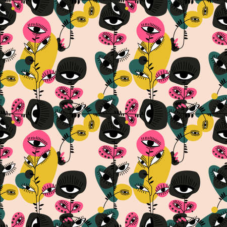 Absract psychedelic plant flower with many eyes vivid multicolor seamless pattern.