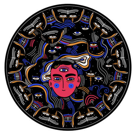 Modern psychedelic round composition of beautiful mystery person with third eye in another realm.