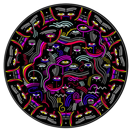 Modern doodle psychedelic fashion eyes abstract round composition in minimalist Memphis style with eyes. 일러스트