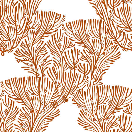 Simple line Branches of tree or coral seamless pattern. Minimalism aesthetic, retro background. Nature fantasy plant. Çizim