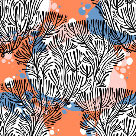 Branches of tree or coral seamless pattern, exotic vintage. Minimalism aesthetic, retro background.