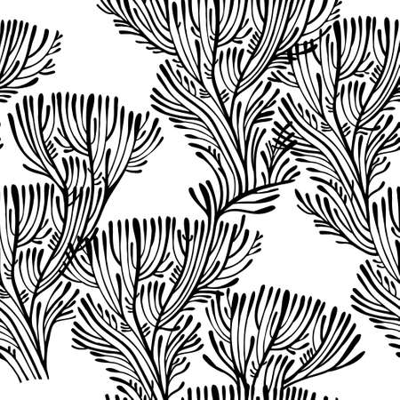 Linear elegant branches of tree or coral seamless pattern.