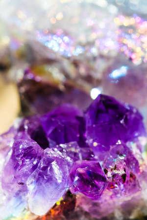 Beautiful crystal magic amethyst gem stone. Stock Photo
