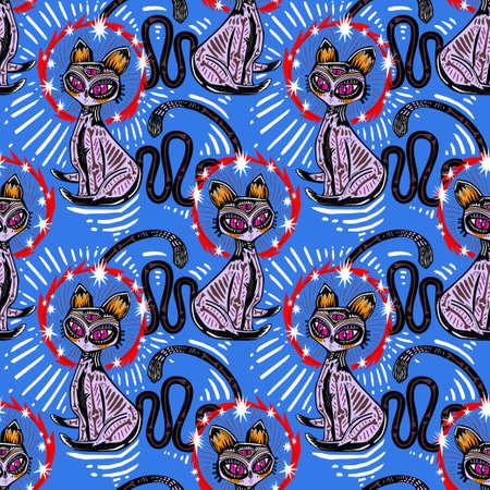 Magic folk contemporary style bone zombie three eye Cat demon seamless pattern. Retro modern kitty aesthetic background.