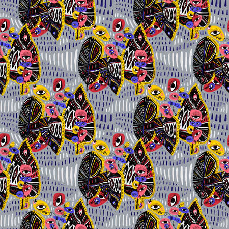 Quirky psychedelic magic jungle plant flower with many eyes multicolor seamless pattern. Vibrant aesthetic background.