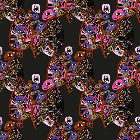Quirky psychedelic tropical plant flower with many eyes vivid multicolor seamless pattern. Vibrant aesthetic background. Stock fotó