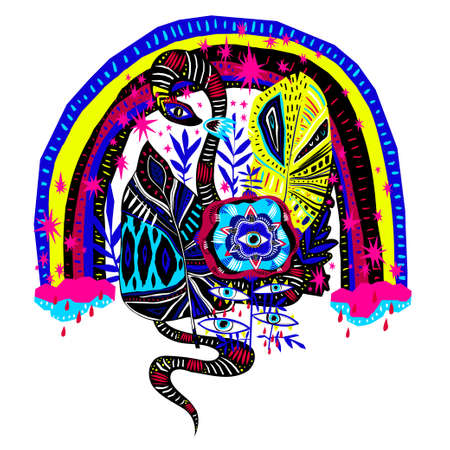 Quirky psychedelic plant flower with many eyes, magic snake under the mellow rainbow in fantasy jungle.