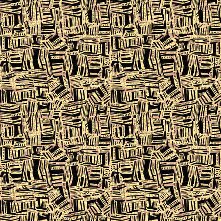 Seamless doodle geometric abstract spot stain and line contemporary pattern in rythmic style, background. Stock Illustratie