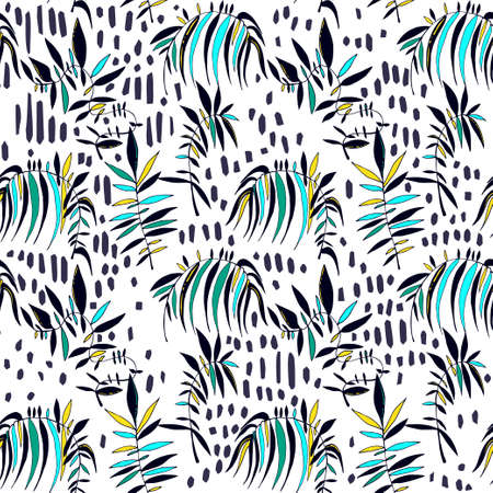 Seamless exotic flora foliage, tropical plants stain and line contemporary pattern in retro style, nature background.