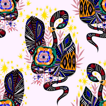 Seamless pattern of magic jungle plant flower with many eyes and snake in vivid multicolor jungle leaves. Stock Illustratie