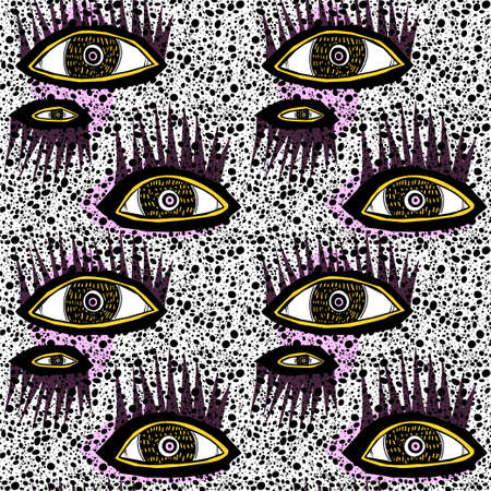 Seamless doodle splatter stain contemporary pattern in rythmic style, with many eyes retro minimalism background.