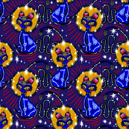 Magic folk contemporary style bone zombie three eye Cat demon seamless pattern. Retro modern kitty aesthetic background. Stock Illustratie