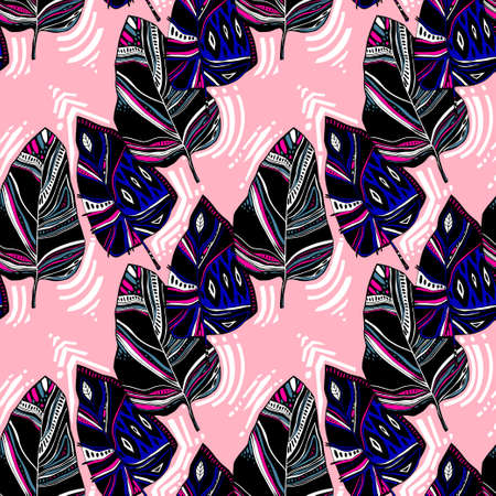 Tropical exotic nature abstract folk style plant leaves or feathers seamless pattern. Modern aesthetic background.