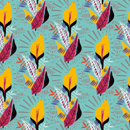 Folk cute flash style tropical exotic flower and plant leaves summer seamless pattern. Retro aesthetic boho background.