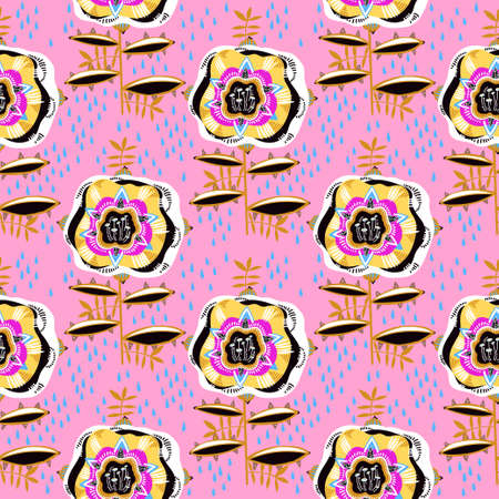 Folk psychedelic doodly boho flash style rose plant flower seamless pattern. Stock Illustratie