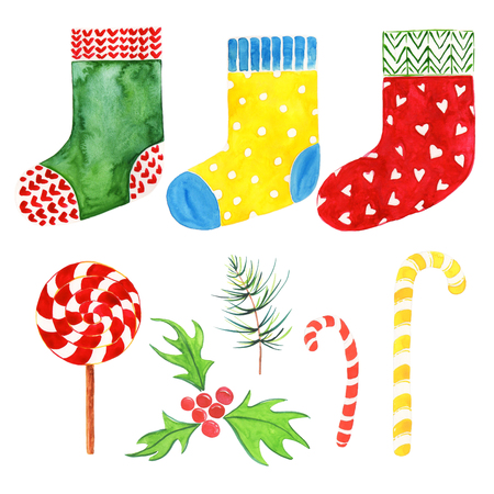 Christmas composition. 8 highly detailed Christmas watercolor illustrations. Sock green, yellow, red, mistletoe red, Christmas candies, fir-tree branch.