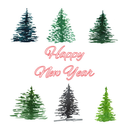 Collection Spruce. Watercolor background with place for text. Фото со стока