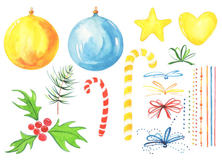 Christmas composition. 21 highly detailed New year watercolor illustrations. Holiday ball yellow and blue, mistletoe red, feast candies, fir-tree branch, star, heart, ribbons.