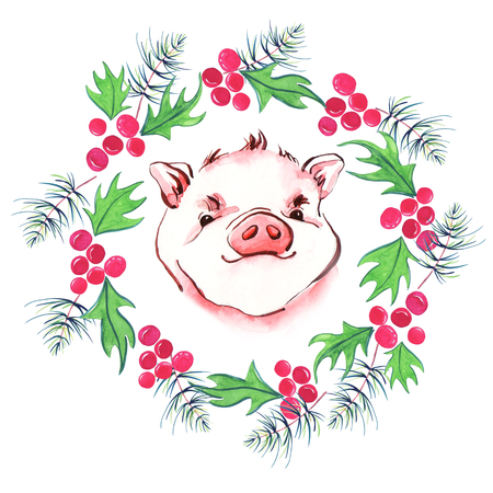 Cute pig and and christmas wreath. New year 2019 card. Symbol zodiac sign. Watercolor piglet illustration.