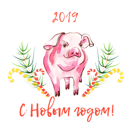 Cute pig in watercolour spots. New year 2019 card (greetings in Russian). Symbol zodiac sign. Watercolor piglet illustration.