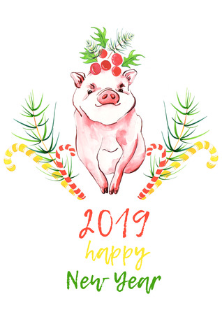 Cute pig and symbols holidays (spruce branches, holly, Christmas Candy Canes). New year 2019 card. Symbol zodiac sign. Watercolor piglet illustration. Фото со стока