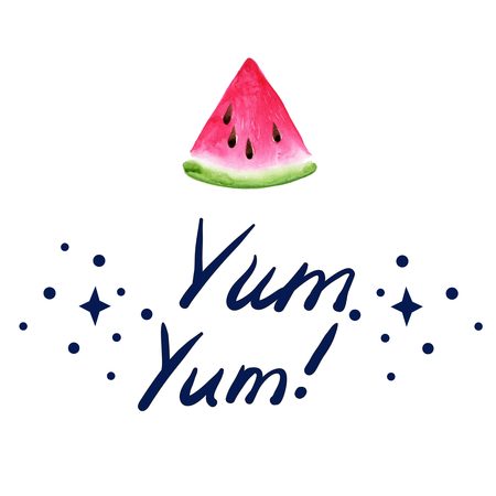 Fruit Ice Cream icons. Watermelon. Typography poster with hand phrase: Yum, Yum! Typography poster with hand lettering. Watercolor illustration print quote.