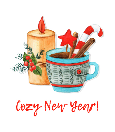 Cozy New year 2019 card. Watercolor illustration. A burning candle, fir branches, holly, knitted cup of tea, cinnamon and lollipop.
