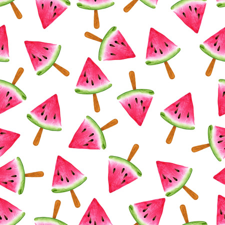 Ice cream Watermelon seamless pattern. Watercolor illustration. Vintage Red color.