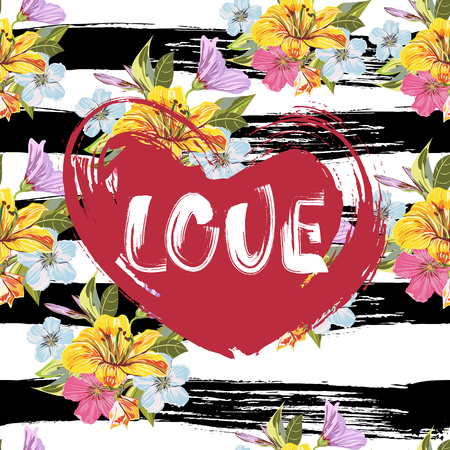 Love. Handmade art lettering on red grunge heart. Vector Seamless Floral Hand-drawn Pattern on against the background of strips of drawn ink. Can be use as poster, greeting card and etc., for your design projects. Фото со стока