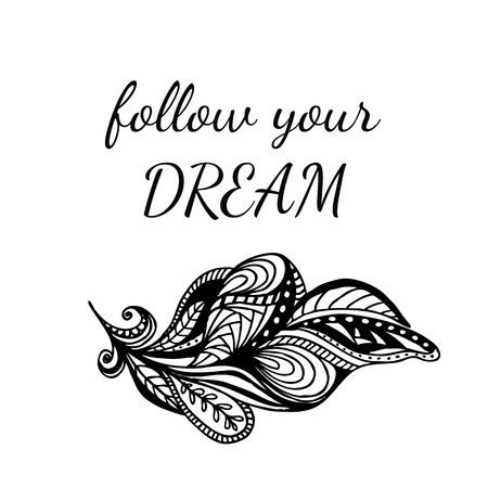 Motivational quote FOLLOW YOUR DREAM.  Richly decorated ornate feather and Lettering. Hand Drawn black elements on isolated background.  Фото со стока