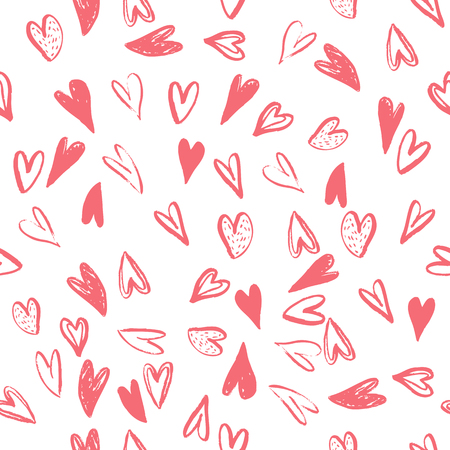 Vector Seamless pattern with hearts. Handmade art. Can be use as t-shirt, wallpaper, textile, cards and etc., for your design projects. Фото со стока
