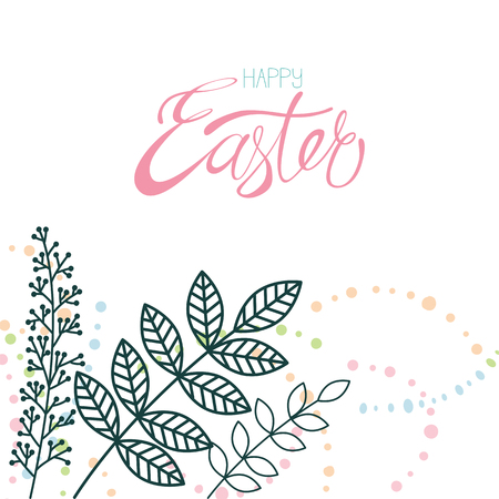 Happy easter calligraphy and decor flower isolated on white background. Hand-drawn lettering. Template for postcard, card, invitation, poster, banner. Фото со стока